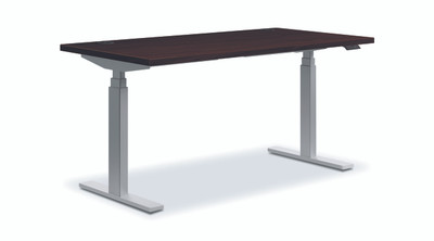 Coordinate Height-Adjustable Desk, Mahogany N