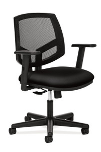 Hon Volt Mesh Back Synchro-Tilt Chair in black fabric with adjustable arms