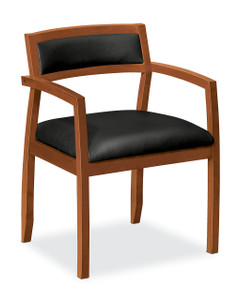 basyx by Hon Wood Guest Chair with Leather Seat, Bourbon Cherry