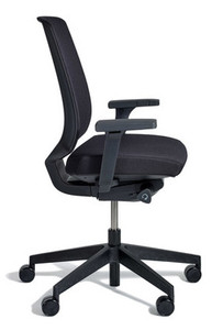 k.™ task by Knoll, Onyx seat fabric and black mesh back, Fixed Arms, side