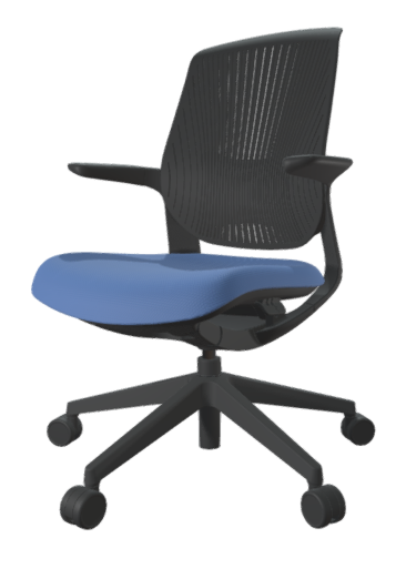 FLYT Black Flex Back Task Chair with Moonstone seat