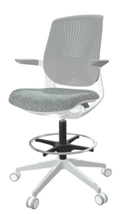 FLYT White/Grey Flex Back Stool with upgraded Milan Heather seat