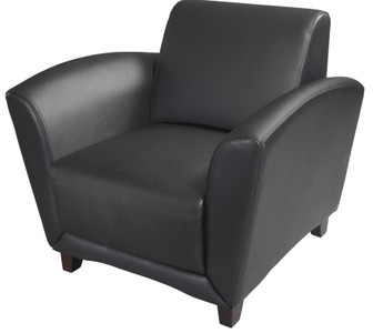 Mayline Santa Cruz Lounge Chair in Black Leather