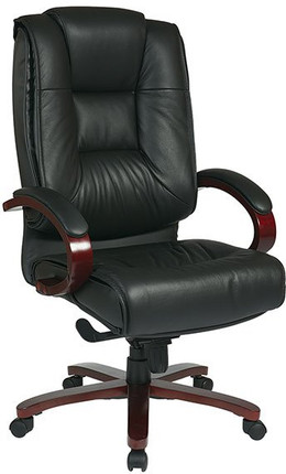 deluxe high back leather executive chair mahogany base open box