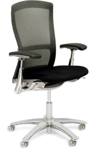 Knoll Life Chair Quick Ship Shown with optional polished base and clear casters