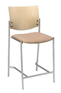 """Evolve Upholstered Hip Stool with Wood Back, 25"""" seat"""