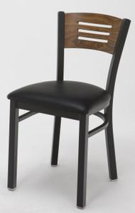 Wood Back Upholstered Cafe Chair, Black Sandex frame and Walnut back with upholstered seat
