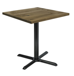 """Urban Loft Table with 30"""" Square Top, Barnwood with X Base"""