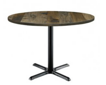 """Urban Loft Table with 30"""" Round Top, Barnwood with X Base"""