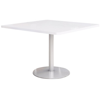 "Fuse Table with 30"" Designer-White Laminate Top and Silver Round base"