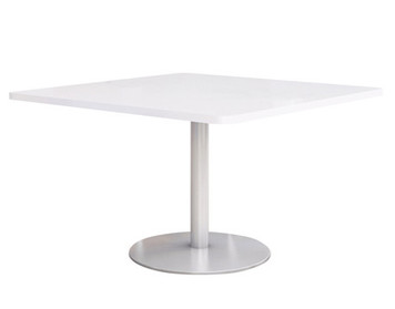"Fuse Table with 36"" Frosty-White Laminate Top and Silver Round base"
