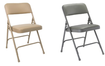 Steel Folding Chair with Upholstered Seat and Back; Vinyl Upholstery with Matching Frame
