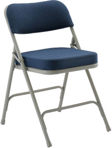 """Steel Folding Chair with 2"""" Upholstered Seat and Back, Navy Fabric with Grey Frame"""
