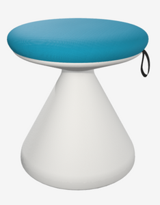AMQ Bella Stool with Off-white base and Caribbean Seat Upholstery