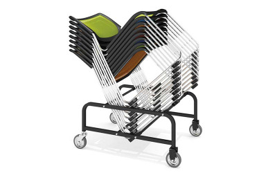 Kimball Poly Stackable Mesh Side Chair, dolly