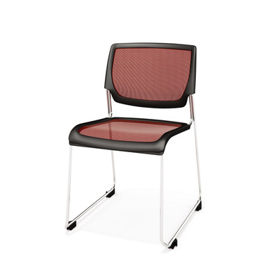 Kimball Poly Stackable Mesh Side Chair, Crimson