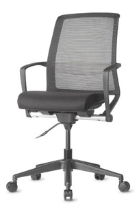 Tizu Work chair with Black frame and Graphite seat and Black mesh
