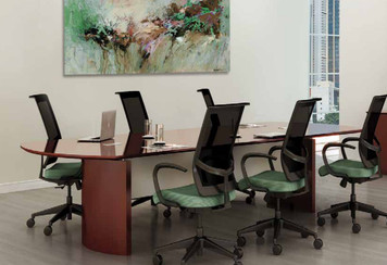 Mayline Napoli Wood Veneer 10' Conference Table Sierra Cherry Finish shown with Commute chairs