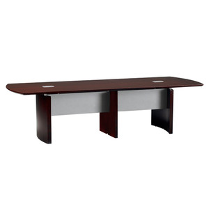 Mayline Napoli Wood Veneer 12' Conference Table With Mahogany Finish
