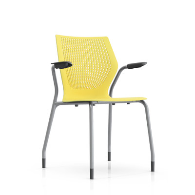 Knoll MultiGeneration Stacking Arm Chair In Yellow (YW) Metallic Gray Frame  ...