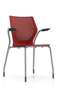 Knoll MultiGeneration Stacking Arm Chair in Dark Red (RD) Metallic Gray Frame