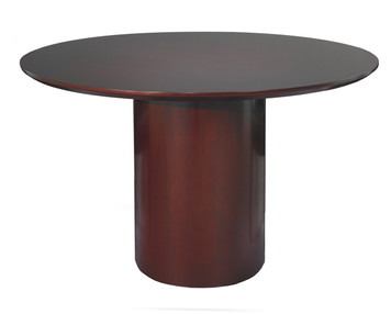 "Mayline Napoli Wood Veneer 48"" Round Conference Table with Mahogany Finish"