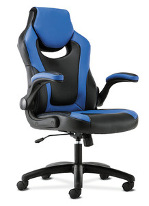 Sadie Racing Style Gaming Chair with Flip-Up Arms, Blue/Black Bonded Leather