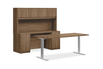 """Foundation 72"""" Height Adjustable Workstation with Overhead Storage in Pinnacle"""