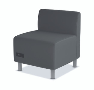 Greet Modular Armless Chair in charcoal fabric with power module