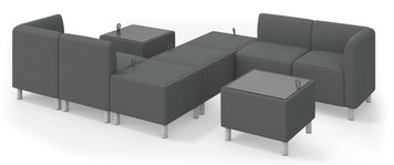 Greet Modular Sofa with Lounge Chairs and Ottoman in Charcoal fabric
