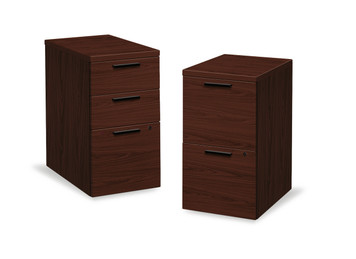 10500 Series Woodgrain Laminate Under Desk Pedestal, B/B/F 3 drawer and File/File 2 drawer in Mahogany