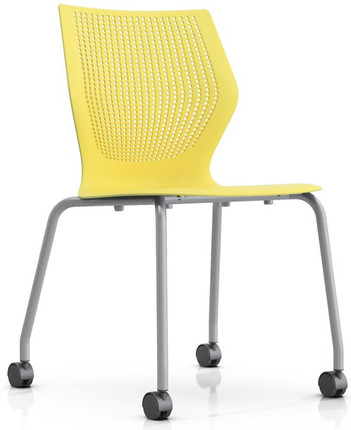 Charmant Knoll MultiGeneration Armless Mobile Stacking Chair In Yellow (YW)
