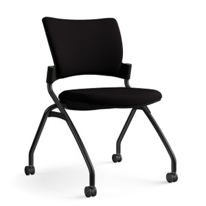 SitOnIt Relay Nester with Upholstered Seat in Sugar Licorice, back in Black and black frame