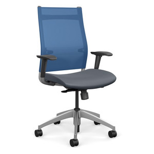 SitOnIt Wit High Back Task Chair with Electric Blue Mesh and Element H20 seat vinyl, silver back support and aluminum base
