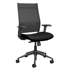 SitOnIt Wit High Back Task Chair with Black Onyx Mesh and Sugar Licorice seat fabric, black back support and black base
