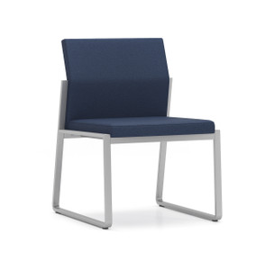 Gansett Armless Guest Chair with silver frame