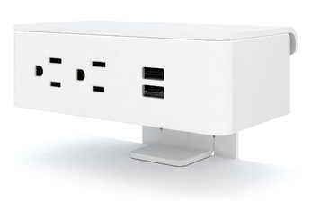 Ashley Duo Surface Power Module, white plastic, white trim  *Ships in 2 days!