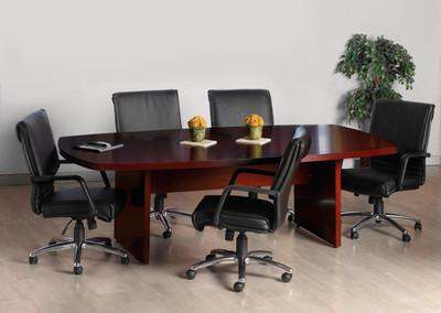 Mayline Luminary Wood Veneer Convex Conference Table - Wood veneer conference table