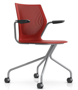 Knoll MultiGeneration Hybrid In Dark Red (RD) W/ Optional Arms And Casters