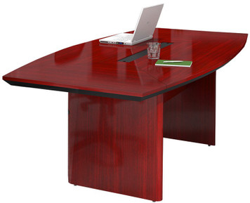 Mayline Corsica Wood Veneer 8u0027 Boat Shaped Conference Table With Sierra  Cherry Finish