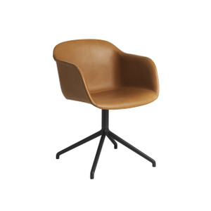 Muuto Fiber Armchair with Swivel Base, Cognac Silk Leather