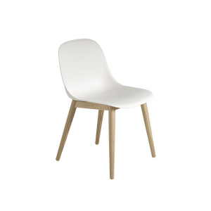 Muuto Fiber Side Chair with Natural White Shell and Oak Wood Base