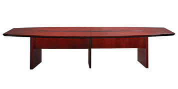 Mayline Corsica Wood Veneer 12' Boat-Shaped Conference Table in Sierra Cherry Finish