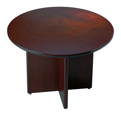 Mayline Corsica Wood Veneer Round Conference Table OfficeChairsUSA - Wood veneer conference table
