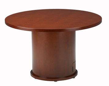 "Mayline Mira Wood Veneer 42"" Round Conference Table with Medium Cherry Finish"