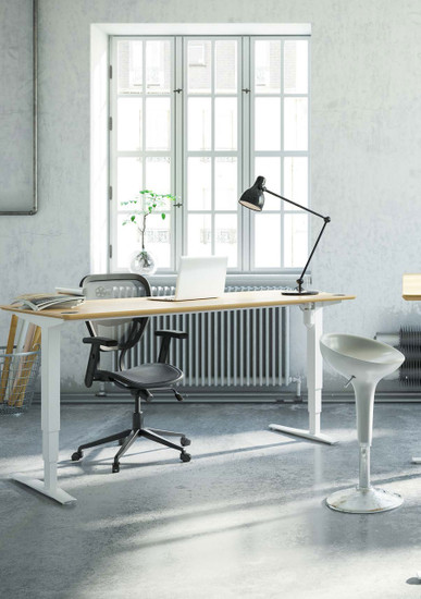"""501-43 Laminate Electric Sit-Stand Desk, 82"""" top with white frame"""