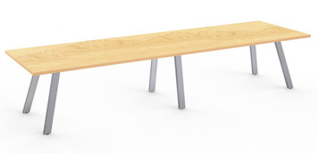 Aim XL 12' Conference Table with Silver base and Kensington Maple HPL