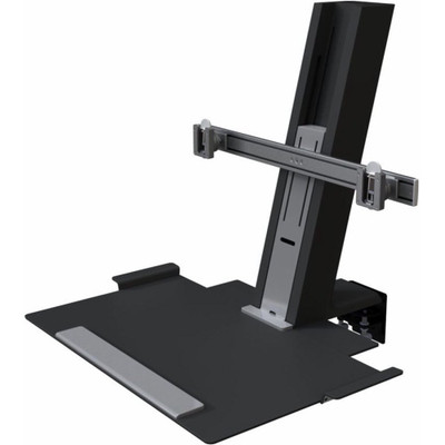 Humanscale QuickStand Large Platform Dual Monitor Mount with Black with Gray Trim Finish