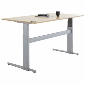 Conset 501-29 High Laminate Electric Sit-Stand Desk with Silver Frame