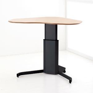 Conset 501-7 Corner Sit Stand Adjustable Height Desk in Black w/ Beech